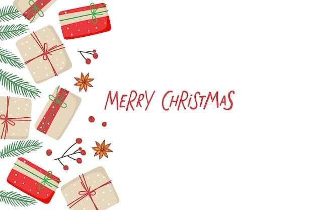 Frohe weihnachtskarte mit geschenkboxen und fichtenzweigen rote beeren-anis-grenze und handgeschrieben