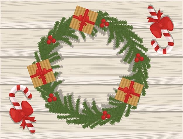 Frohe weihnachtskarte mit geschenken in der krone im hölzernen hintergrund