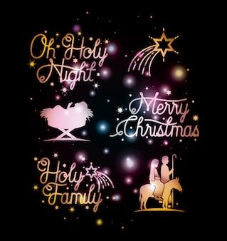 Frohe weihnachtskarte mit gesetzten ikonen