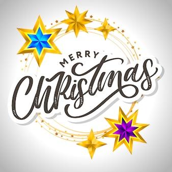Frohe weihnachtskarte mit handgezeichneter beschriftung und sternen auf dunklem hintergrund. netter feiertagsgoldrahmenhintergrund