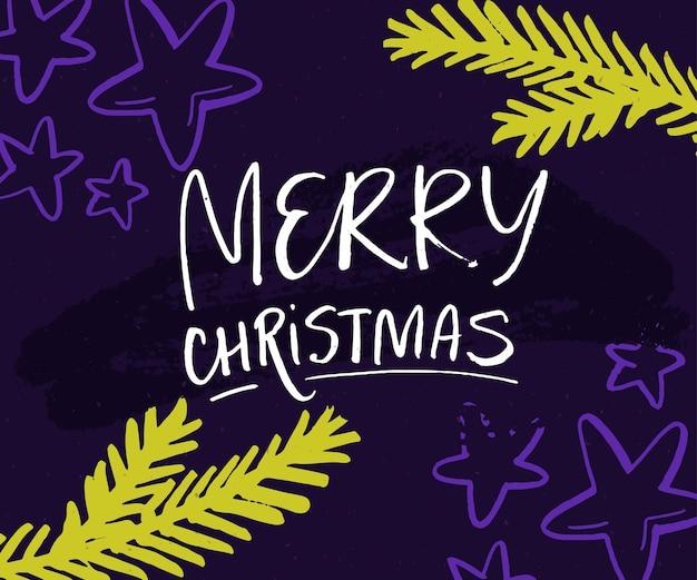 Frohe weihnachtskarte mit handschrift und weihnachtsbaumzweigen grüne zweige sterne auf veilchen