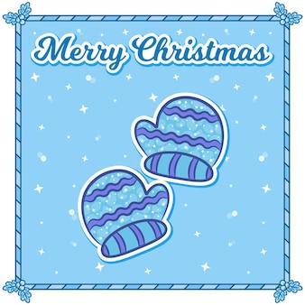 Frohe weihnachtskarte mit handschuhen sticker