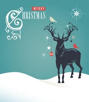 Frohe weihnachtskarte mit hirschumriss auf blauem hintergrund. vektorschablone für grußkarte, fahne oder plakat