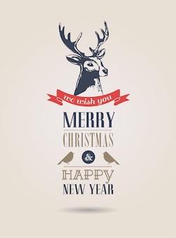 Frohe weihnachtskarte mit hirschumriss auf einem grau.