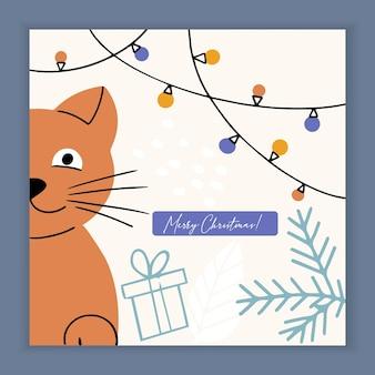 Frohe weihnachtskarte mit kitty cat und feiertagselementen und symbolen