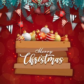 Frohe weihnachtskarte mit kugel auf rot