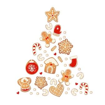 Frohe weihnachtskarte mit lebkuchenplätzchen. baum aus keksen. vektorillustration für design des neuen jahres.