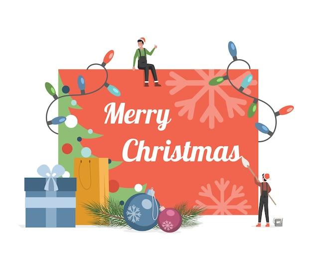 Frohe weihnachtskarte mit niedlichen kleinen elfen.