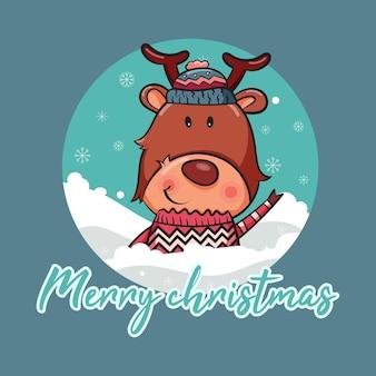 Frohe weihnachtskarte mit niedlichen rehen