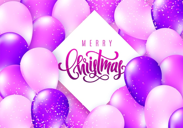 Frohe weihnachtskarte mit realistisch glänzenden fliegenden luftballons und funkelnden konfetti