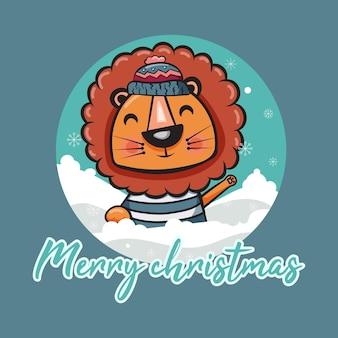 Frohe weihnachtskarte mit süßem löwen