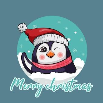 Frohe weihnachtskarte mit süßem pinguin