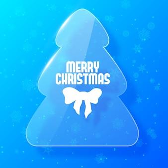 Frohe weihnachtskarte mit tannenbaum im glasstil