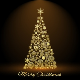 Frohe weihnachtskarte mit verziertem tannenbaum in der mitte