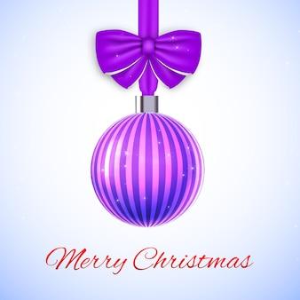 Frohe weihnachtskarte mit violett gestreiftem ball und bogen