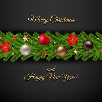 Frohe weihnachtskarte mit weihnachtsgirlande
