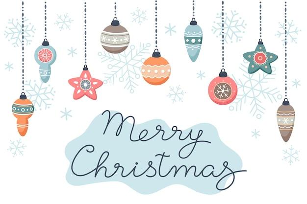 Frohe weihnachtskarte mit weihnachtskugelgirlande