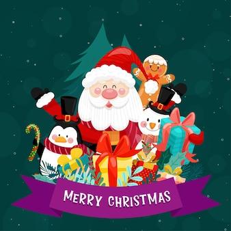 Frohe weihnachtskarte mit weihnachtsmann, schneemann, pinguin und geschenkbox.