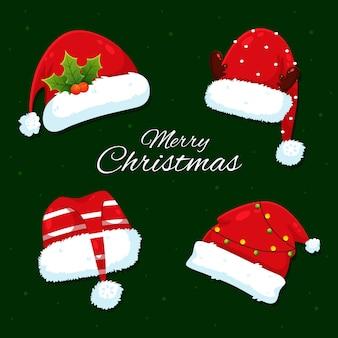 Frohe weihnachtskarte mit weihnachtsmütze gesetzt