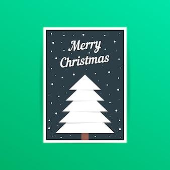 Frohe weihnachtskarte mit weißem weihnachtsbaum. konzept der traditionellen, a4-header, dekorativ, verziert, event-party. auf grünem hintergrund isoliert. flache arttrend moderne postdesign-vektorillustration