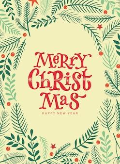 Frohe weihnachtskarte mit zitat und floralen elementen