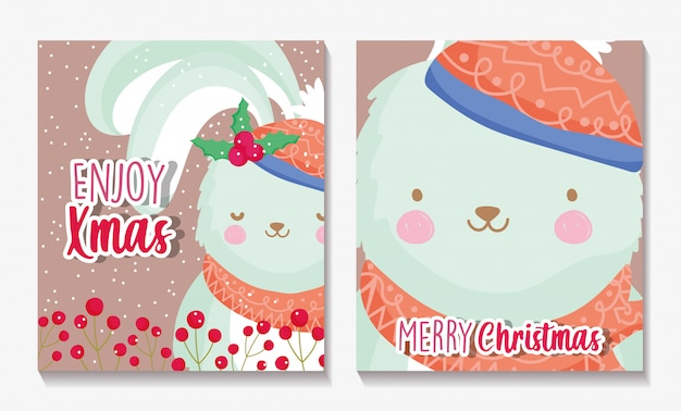 Frohe weihnachtskarten mit kaninchen