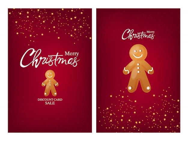 Frohe weihnachtskarten mit lebkuchenplätzchen