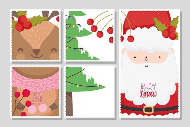 Frohe weihnachtskarten mit weihnachtsmann und rentier