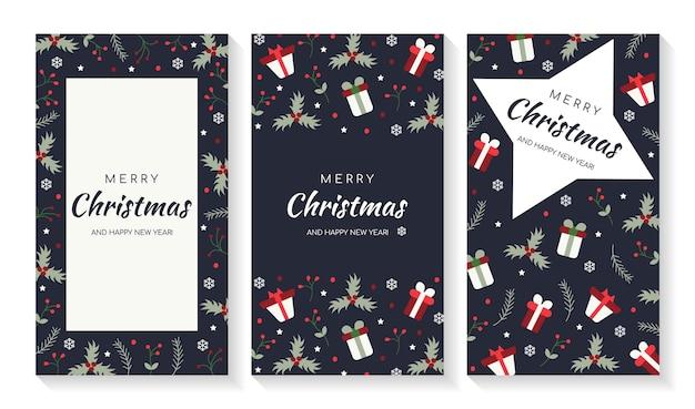 Frohe weihnachtskarten und einladungen mit elementen der neujahrsdekorationen
