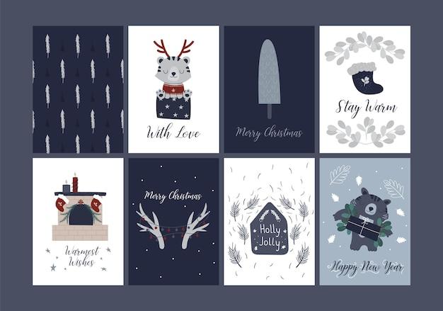 Frohe weihnachtskarten urlaub festliche illustration im handgezeichneten skandinavischen stil. tiger grußkarte lustiges dschungeltier. weihnachten und neujahr 6 kartensammlung. kartenvorlagen für den winterurlaub.