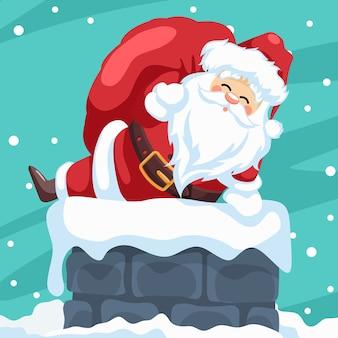 Frohe weihnachtskartenentwurf des weihnachtsmannes, der durch den schornstein eintritt