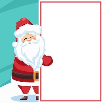 Frohe weihnachtskartenentwurf mit weihnachtsmann für widmung mit leerem blatt
