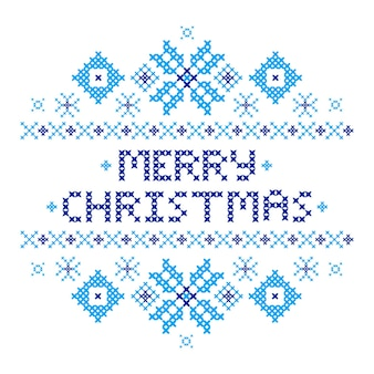 Frohe weihnachtspostkarte. kreuzstich. traditionelles stickornament. blaue schneeflocken. frohes neues jahr 2017. vektor-illustration.