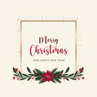 Frohe weihnachtspostkarte mit goldenem rahmen und flachen blättern
