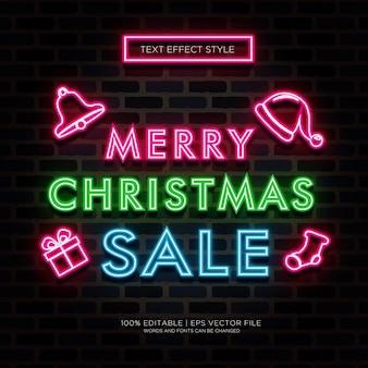 Frohe weihnachtsverkauf neon text effekte