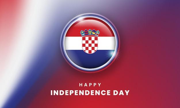 Froher unabhängigkeitstag von kroatien banner mit 3d-flaggenkreis der kroaten