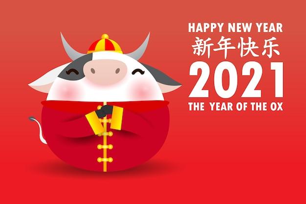 Frohes chinesisches neues jahr 2021 grußkarte. niedliche kleine kuh, die chinesisches gold hält, das jahr des ochsen-tierkreises karikatur isoliert, übersetzungsgrüße des chinesischen neuen jahres