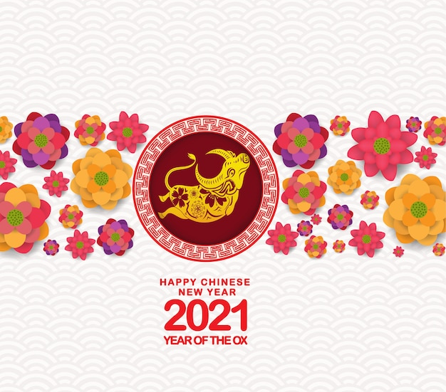 Frohes chinesisches neues jahr 2021 mit niedlichem ochsen-sternzeichen im blühenden design chinas