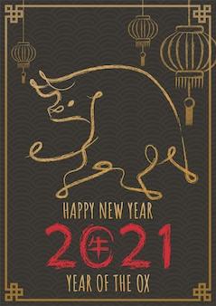 Frohes chinesisches neujahr 2021, jahr des ochsen mit handgezeichnetem kalligraphieochsen.