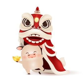 Frohes chinesisches neujahr 2021. karikatur little ox charakterdesign mit chinesischem neujahrslöwentanzkopf