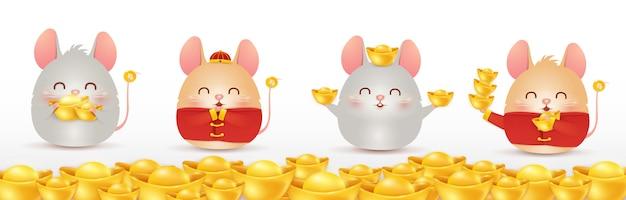 Frohes chinesisches neujahr der ratte. sternzeichen des jahres. vier kleine comic-ratten-figur mit isoliertem chinesischem goldbarren.