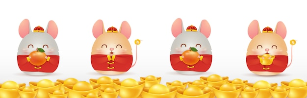 Frohes chinesisches neujahr der ratte. vier kleine comic-rattencharakter mit isoliertem chinesischem goldbarren.