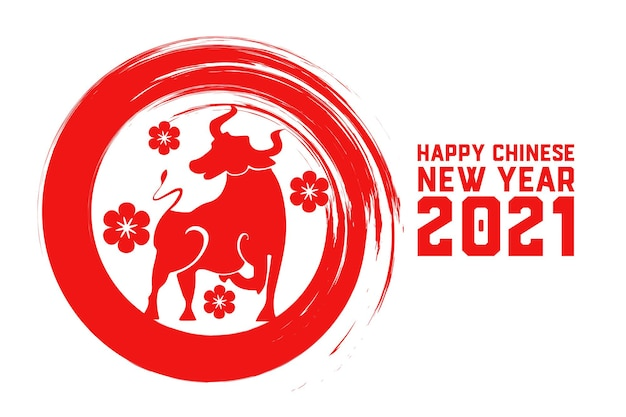 Frohes chinesisches neujahr des ochsen 2021 mit blumen