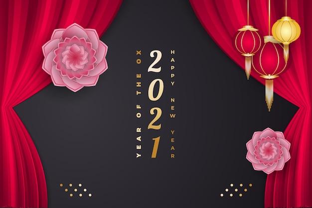 Frohes chinesisches neujahr des ochsen. chinesisches neues jahr verziert mit blume, laternen und vorhängen auf schwarzem hintergrund