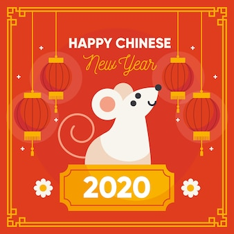 Frohes chinesisches neujahr im flachen design