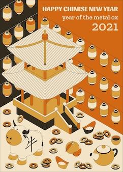 Frohes chinesisches neujahr mit kreativen weißen ochsen und hängenden laternen.