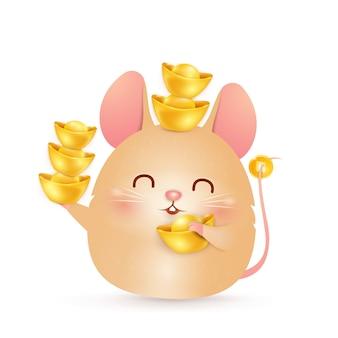 Frohes chinesisches neujahr. netter, fetter karikatur little rat charakterentwurf, der großen chinesischen goldbarren lokalisiert auf weißem hintergrund hält. das jahr der ratte. tierkreis der ratte