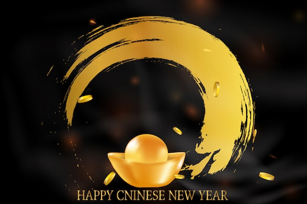 Frohes chinesisches neujahr. rotgoldener hintergrund für karte, flyer, einladung, plakate, broschüre, banner. goldenes bokeh. traditionelle asiatische dekorative festliche dekorationen realistisch.