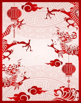 Frohes chinesisches neujahr traditionelles rahmen drachenlaterne und wolke