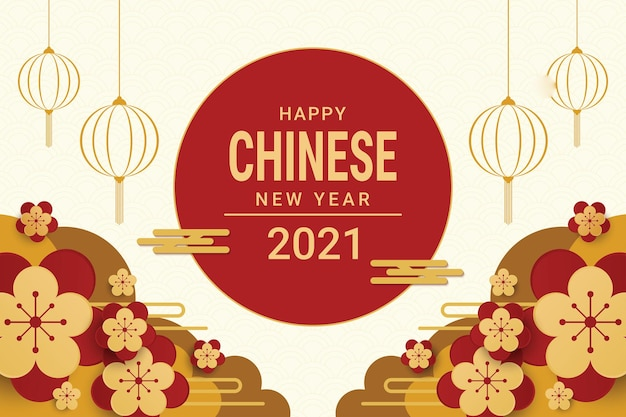 Frohes chinesisches neujahrsfahnenentwurf 2021